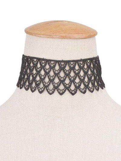 Tiered Crochet Lace Wide Choker NecklaceJewelry<br><br><br>Color: BLACK