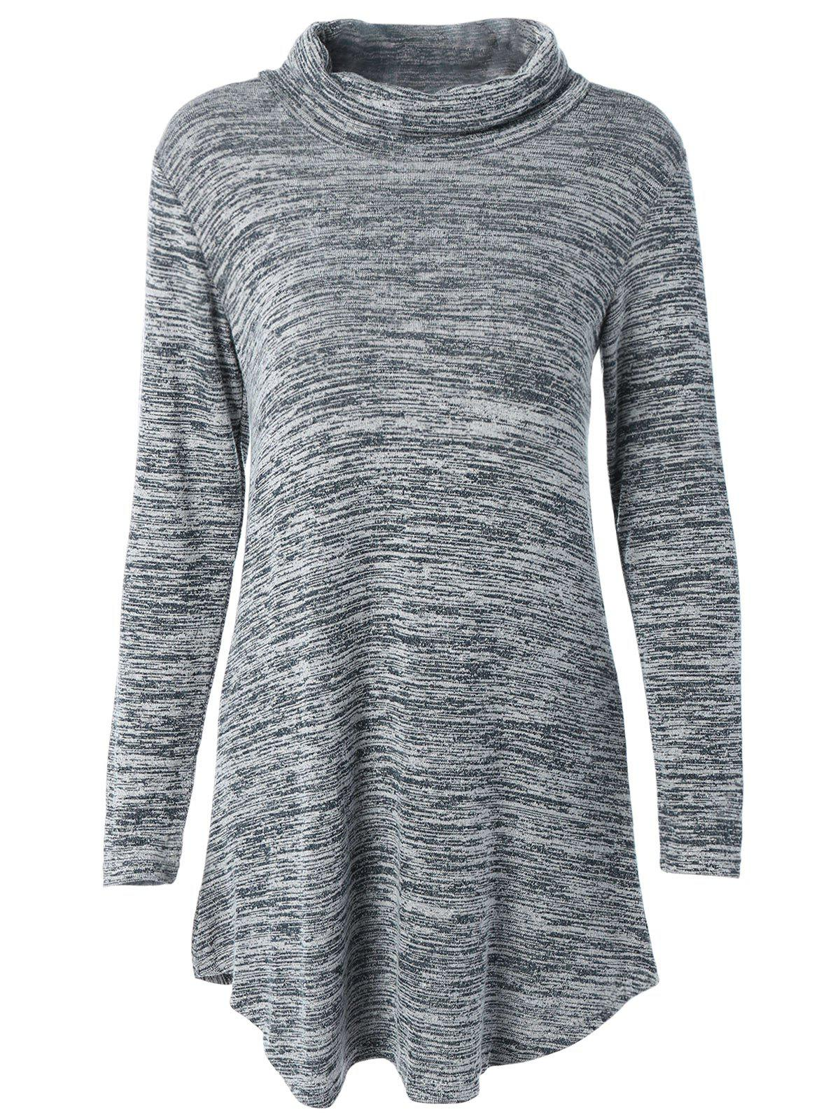 Turtleneck Asymmetric Knitted Tunic Dress - GRAY M