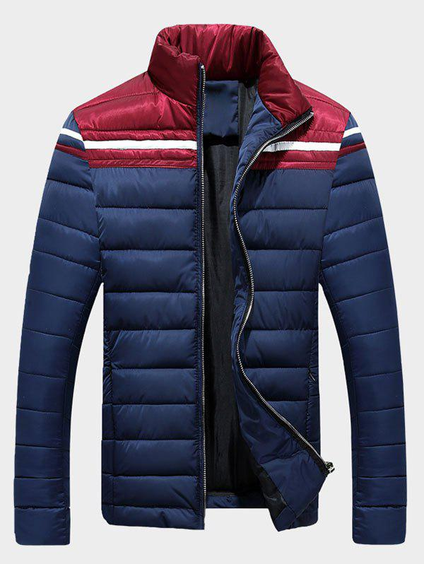 Pied de col Zip-Up Color Block Splicing Stripe Down Jacket - Bleu Cadette 3XL