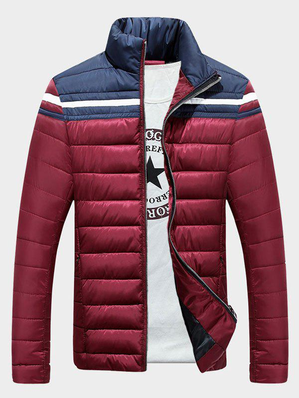 Pied de col Zip-Up Color Block Splicing Stripe Down Jacket - Rouge vineux XL