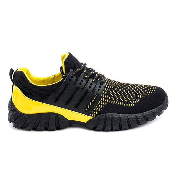 Colour Block Lace-Up Splicing Athletic Shoes - YELLOW/BLACK 44