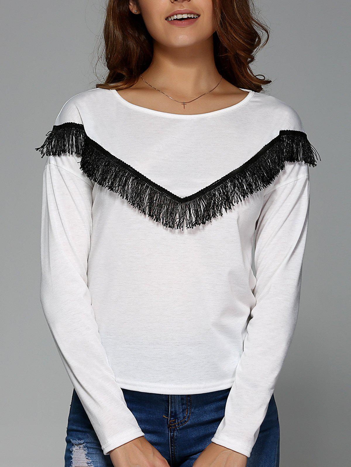 V Fringed Long Sleeve Tee - WHITE S