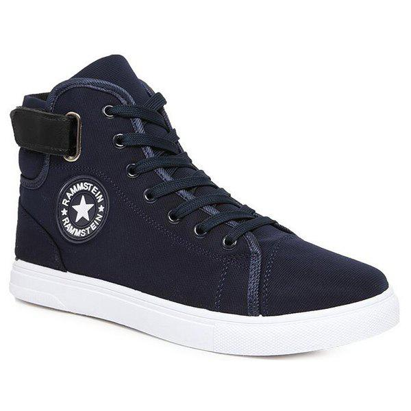 Star Pattern Tie Up High Top Canvas Shoes - DEEP BLUE 42