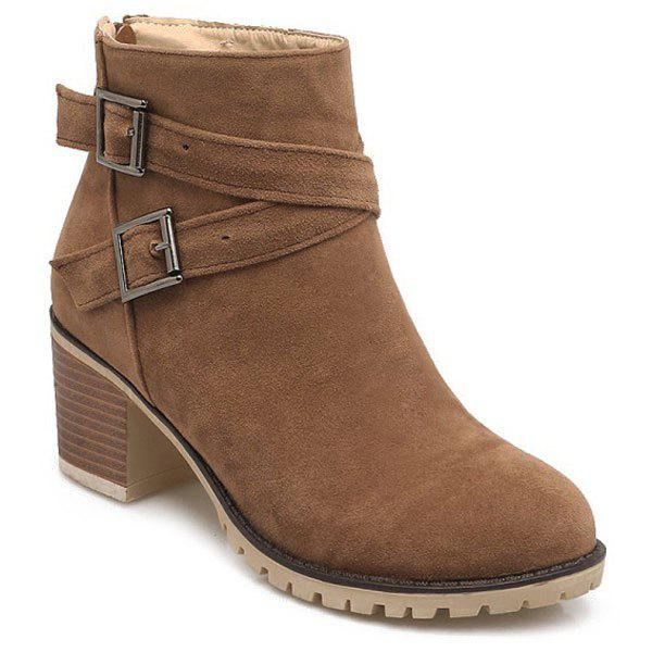 Double Buckles Chunky Heel Suede Ankle Boots - BROWN 38