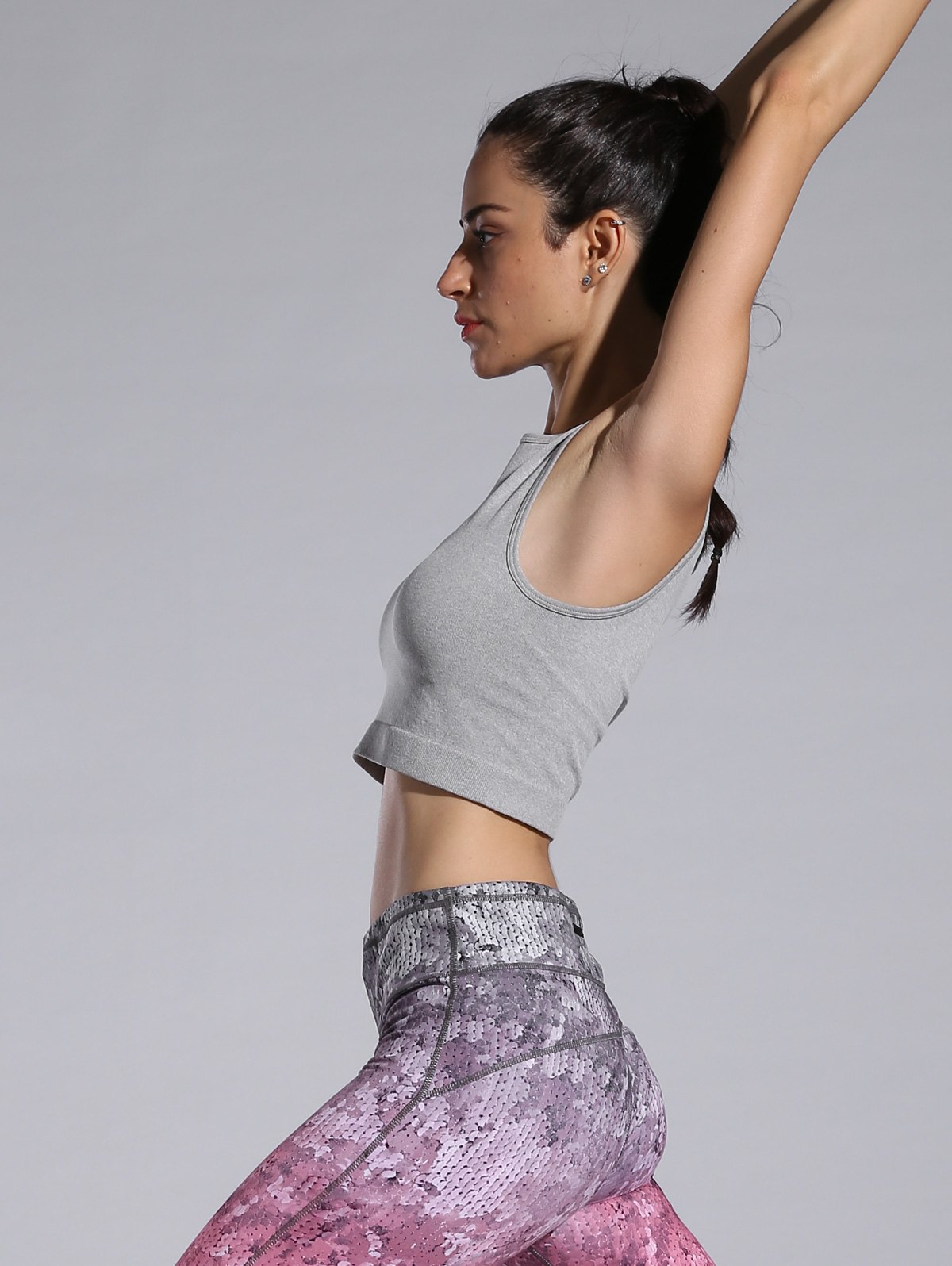 Slim Stretchy Sporty Crop Top - GRAY S