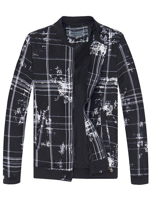 Splatter Paint and Checked Print JacketMen<br><br><br>Size: M<br>Color: WHITE AND BLACK