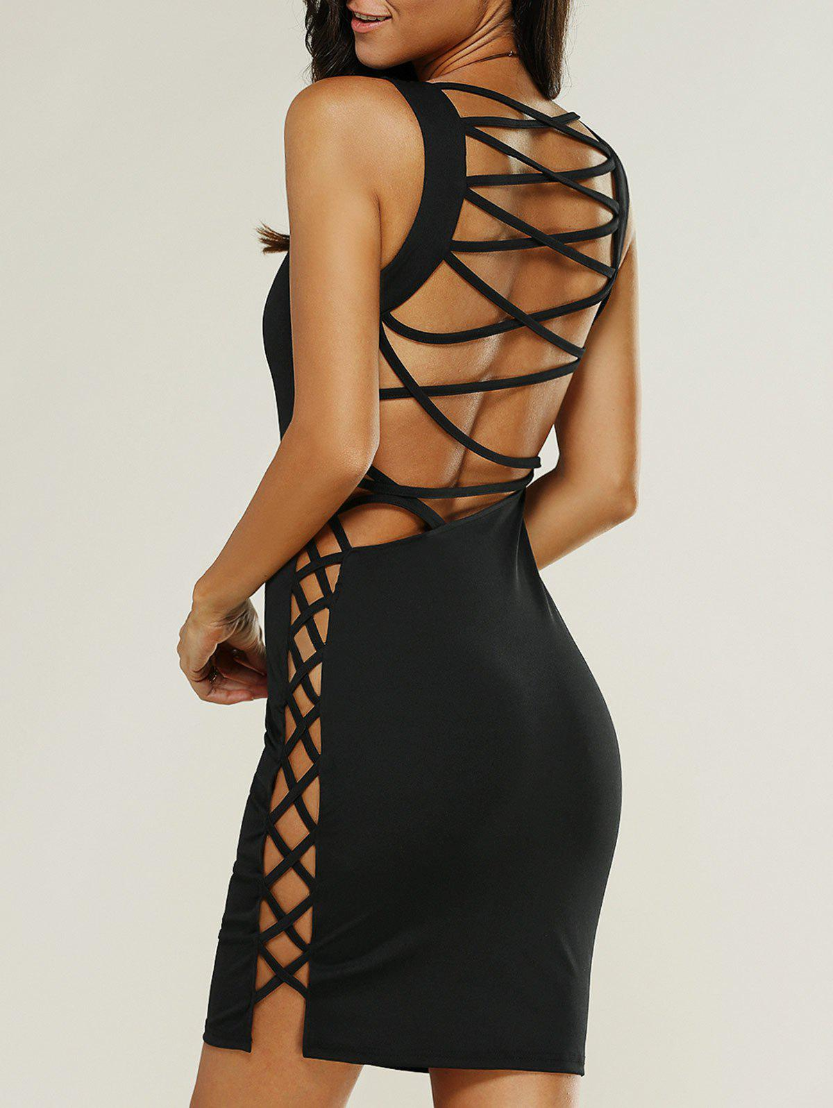Backless Hollow Out Mini Tank DressWomen<br><br><br>Size: XL<br>Color: BLACK