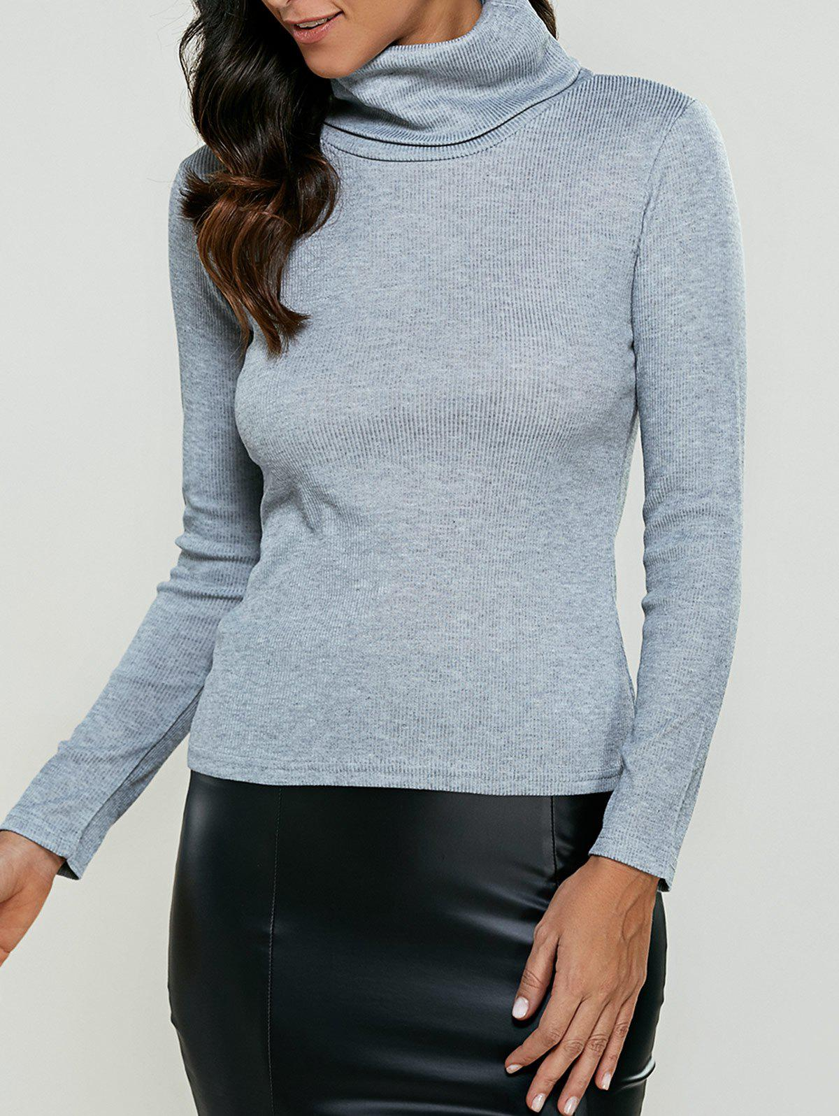 Turtleneck Ribbed Pullover Knitwear
