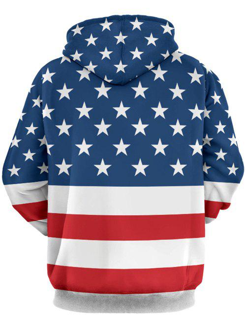 Front Pocket Embellished Stars and Stripes Pattern Hoodie - COLORMIX 3XL