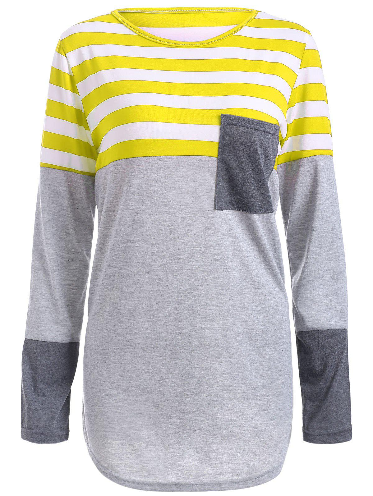 Striped Pocket Tunic T-Shirt - YELLOW M