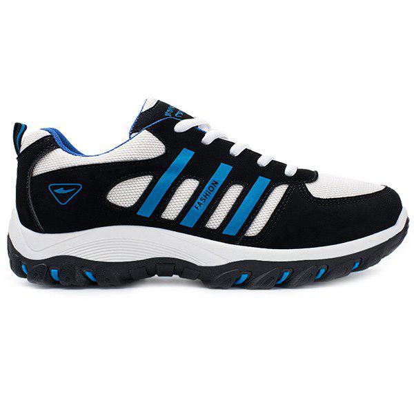Suede Color Block Tie Up Athletic Shoes - BLUE