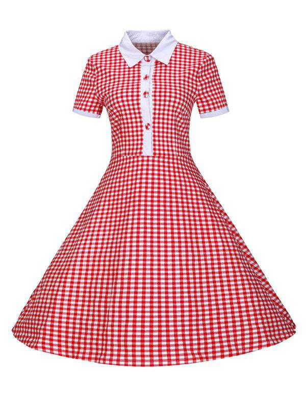 Plaid Buttoned 1940s Swing Dress - RED 2XL