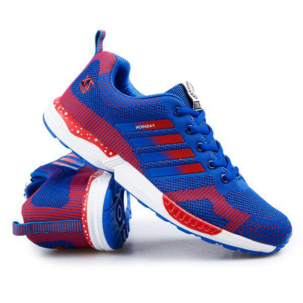 Tie Up Breathable Color Spliced Athletic Shoes - BLUE/RED 40