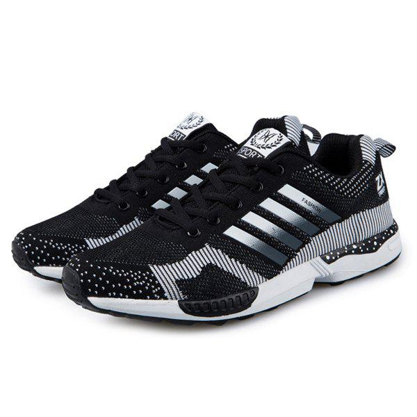 Tie Up Breathable Color Spliced Athletic Shoes - BLACK 42