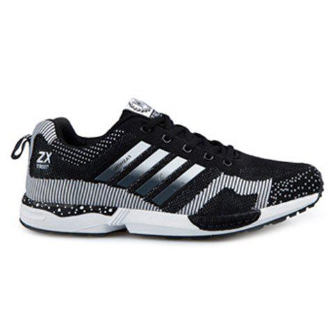Tie Up Breathable Color Spliced Athletic Shoes - BLACK 43