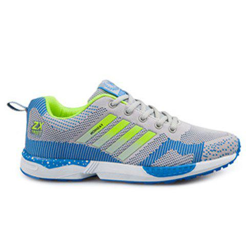 Tie Up Breathable Color Spliced Athletic Shoes - LIGHT GRAY 42