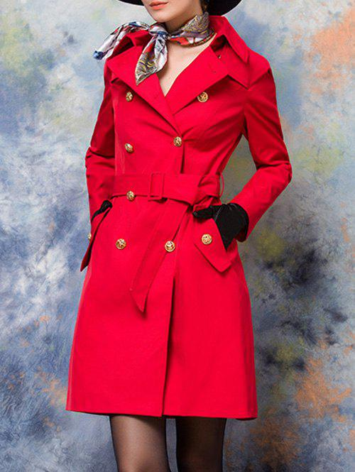 Manteau double boutonnage Retour Slit Belted Trench - Rouge L