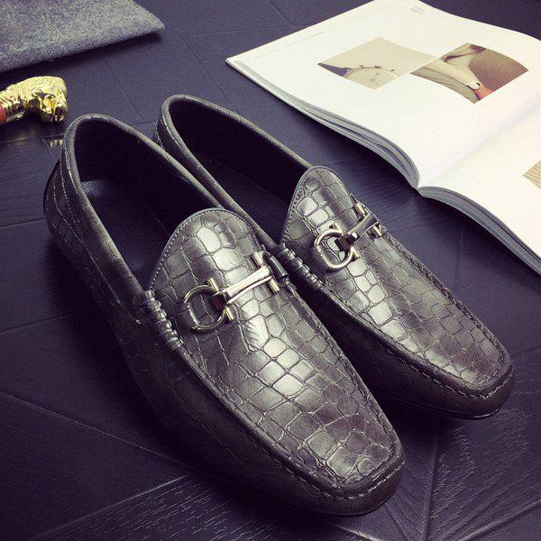 PU Leather Plaid Pattern Embossing Casual Shoes - GRAY 42