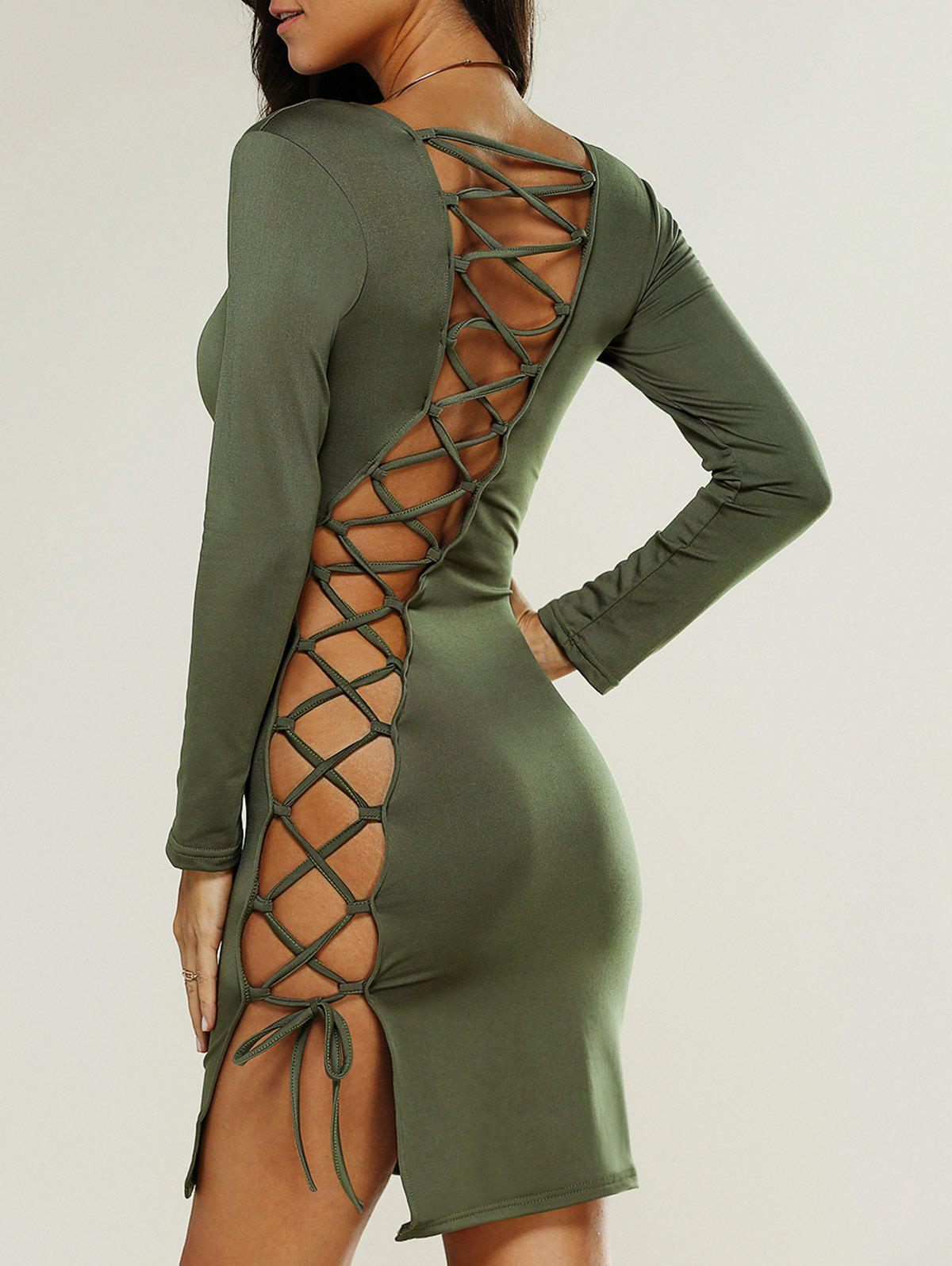 Cut Out Backless Long Sleeve Mini Dress, FLAX GREEN, L in ...