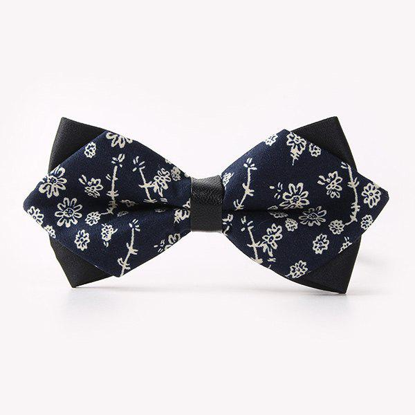 Business Suit Sketch Flower Print Sharp-Angled Double-Deck Bow Tie - PURPLISH BLUE