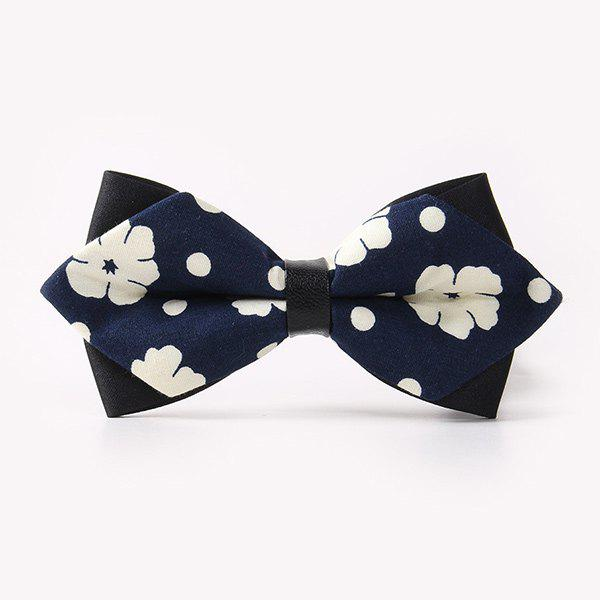 Business Suit Concise Flower Print Sharp-Angled Double-Deck Bow Tie - PURPLISH BLUE