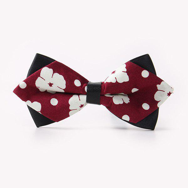 Business Suit Concise Flower Print Sharp-Angled Double-Deck Bow Tie - WINE RED