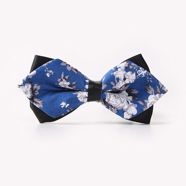 Business Suit Flower Leaf Print Sharp-Angled Double-Deck Bow Tie - BLUE