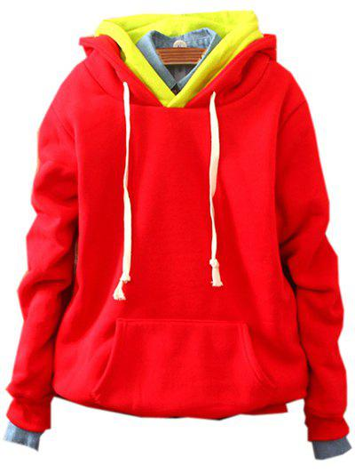 Front Pocket Pullover Fleece Hoodie - RED ONE SIZE