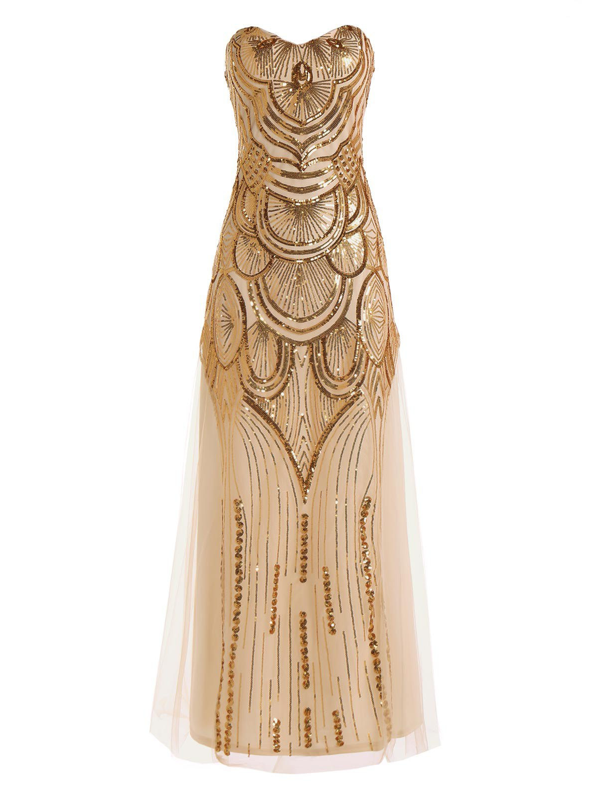 Graceful Sequin Strapless Lace Women's Prom Dress - GOLDEN XL