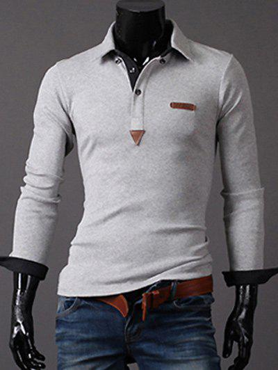Long Sleeve PU Leather Label Button-Down Polo ShirtMen<br><br><br>Size: L<br>Color: LIGHT GRAY