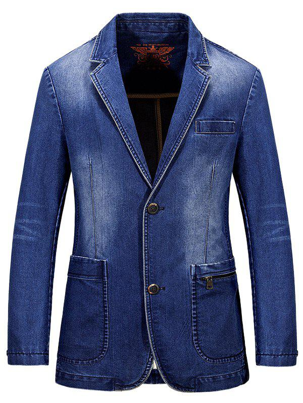 Manteau Lapel Single-breasted Bleach Wash Vintage Denim - Bleu clair M