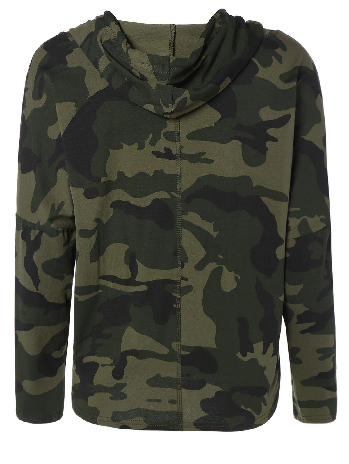 Pocket Drawstring Army Camouflage Hooded T-Shirt - ARMY GREEN S