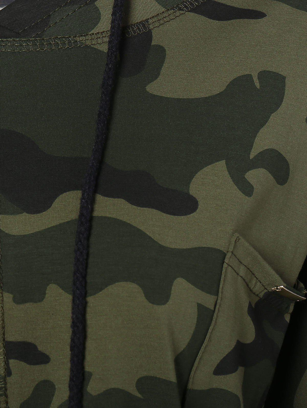 Pocket Drawstring Army Camouflage Hooded T-Shirt - ARMY GREEN L