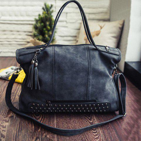 PU Leather Rivet Tassel Tote Handbag - BLACK
