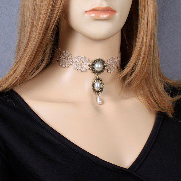 Carved Faux Pearl Crochet Lace ChokerJewelry<br><br><br>Color: YELLOWISH PINK