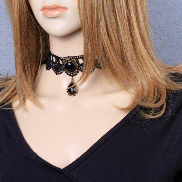 Filigree Teardrop Crochet Lace Choker - BLACK