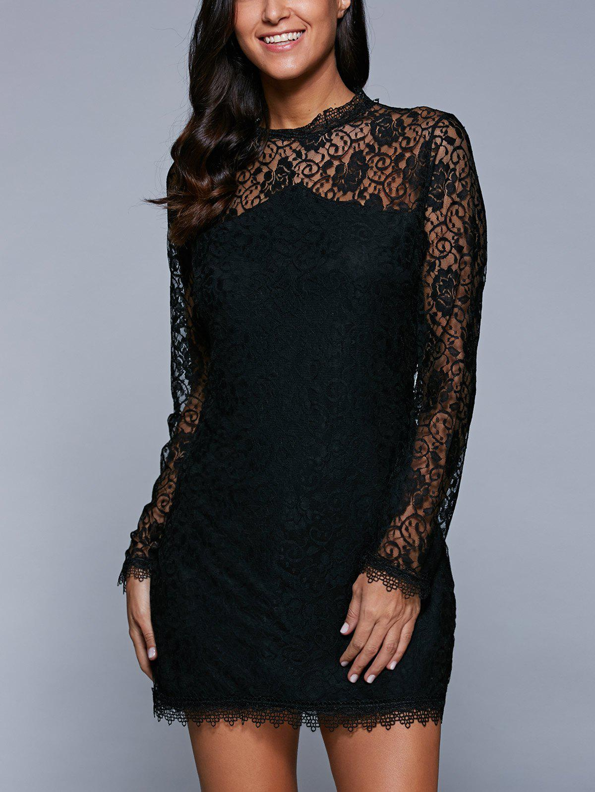 Long Sleeve See-Through Lace Bodycon Dress long sleeve plunge see through lace tight pencil dress