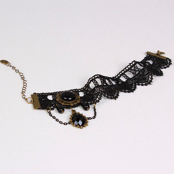 Crochet Lace Layered Teardrop Anklet - BLACK