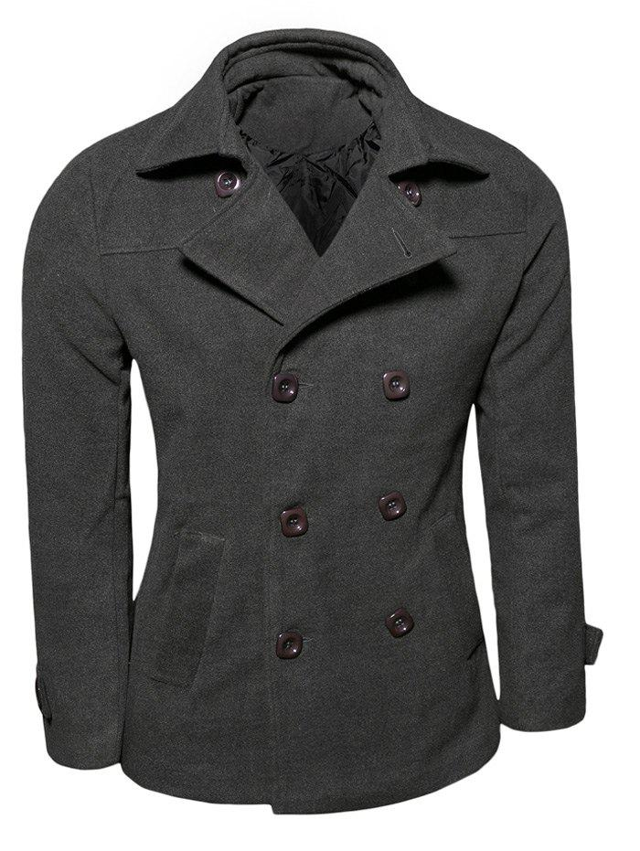 Turn-Down Collar Double Breasted Wool Coat - DEEP GRAY XL