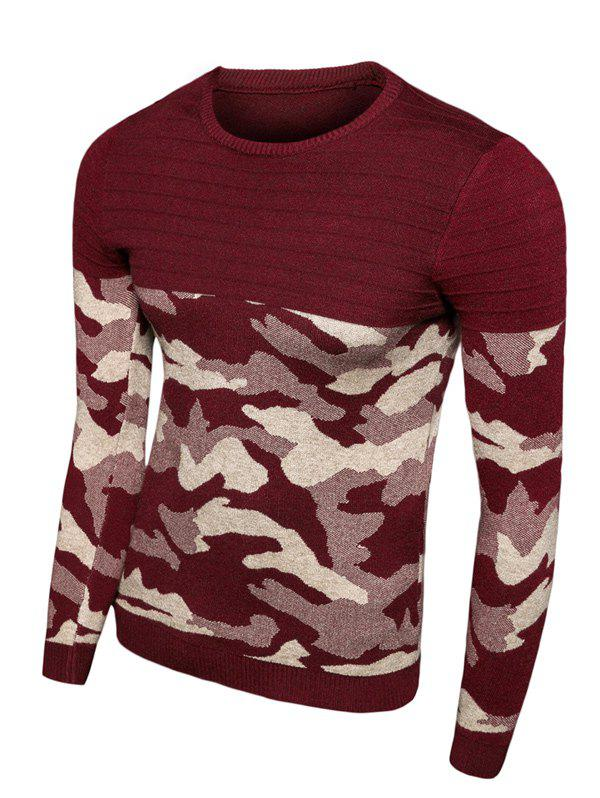 Crew Neck Long Sleeve Camouflage Splicing SweaterMen<br><br><br>Size: XL<br>Color: RED