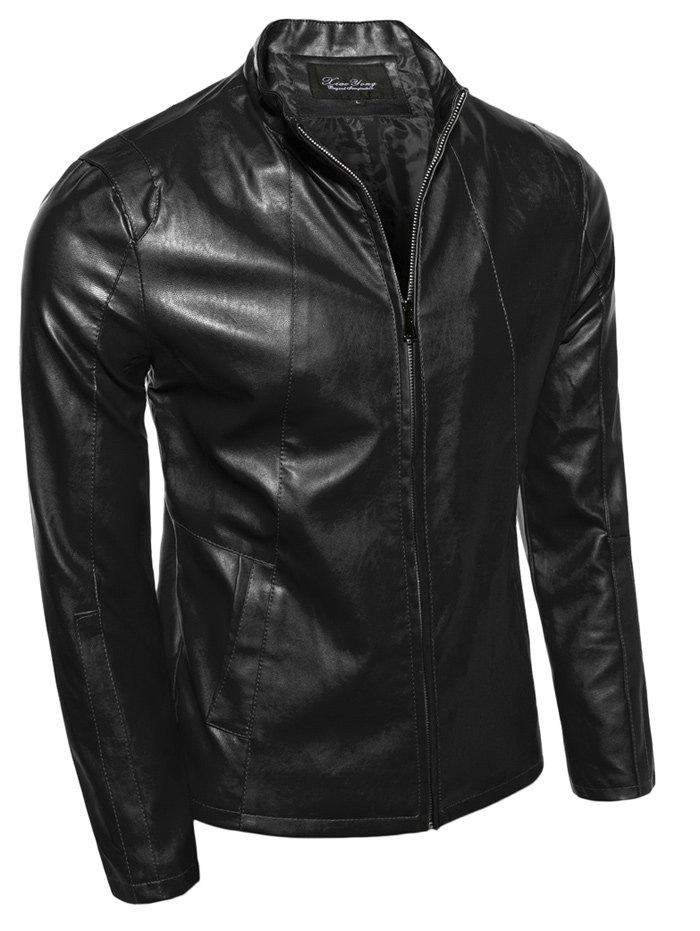 Slimming Zip-Up Stand Collar PU-Leather Jacket - BLACK XL