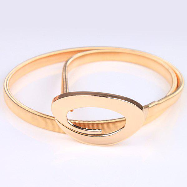 Curved Ring High Polished Flat Belly Chain - GOLDEN