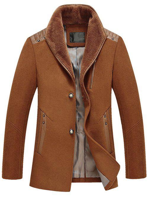 Beaucoup de boutons design PU épissage laine Blend Coat - Camel L