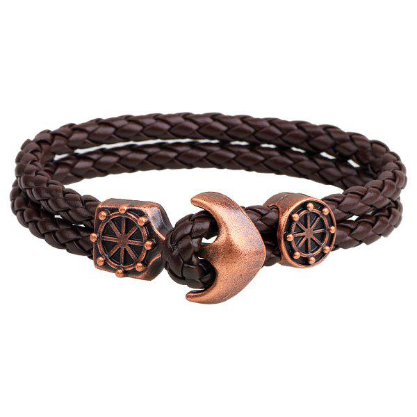 Anchor Faux Leather Bracelets - COFFEE