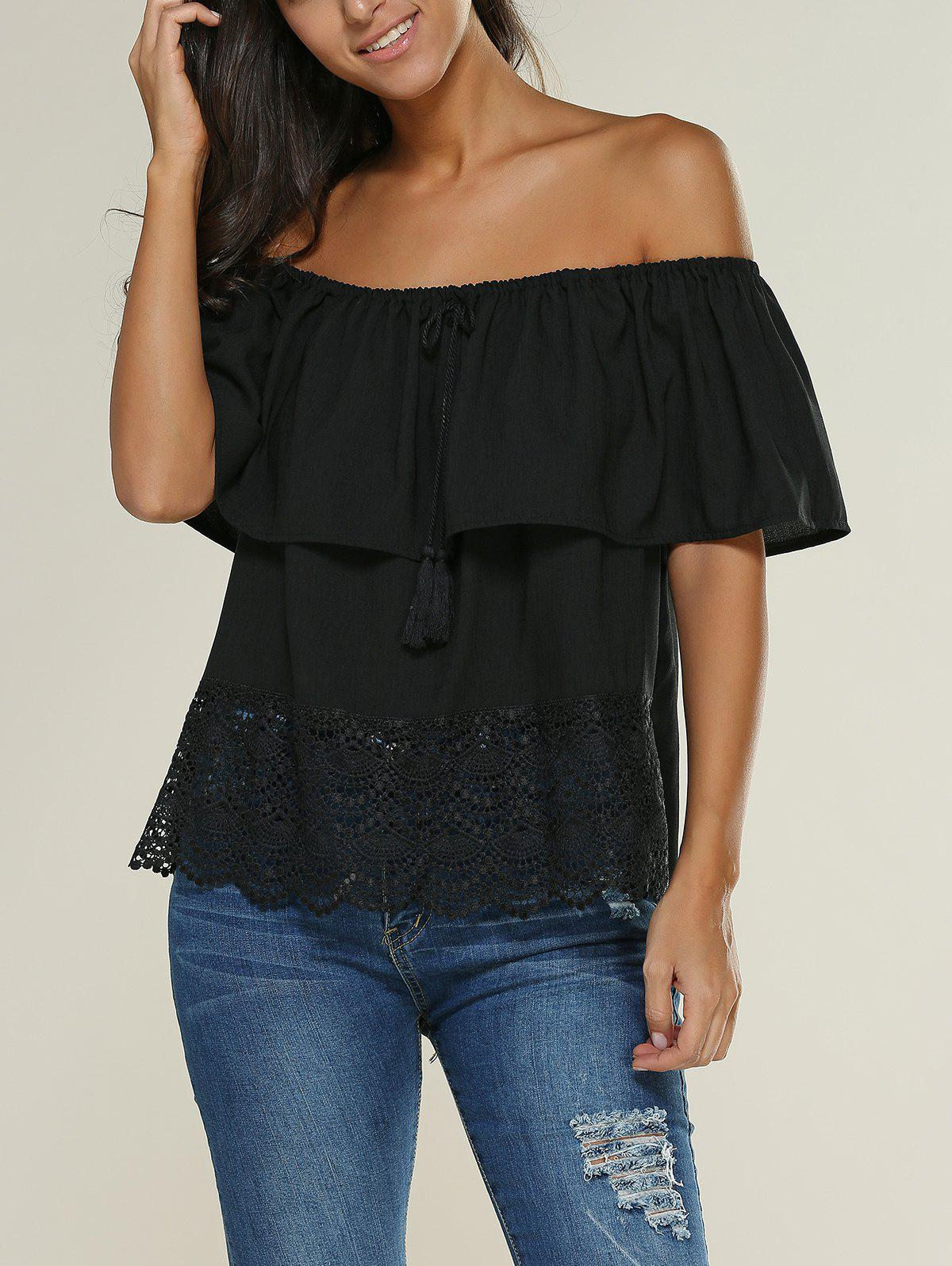 Off The Shoulder Lace Insert Ruffle Blouse - BLACK XL