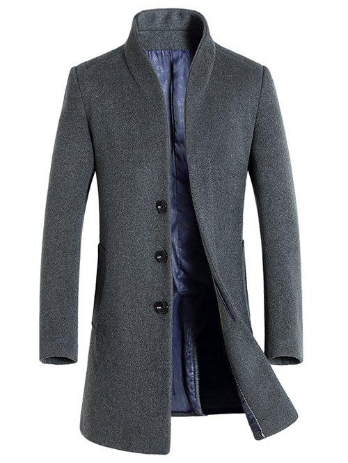 Side Pocket Stand Collar Woolen Blend Coat - GRAY L