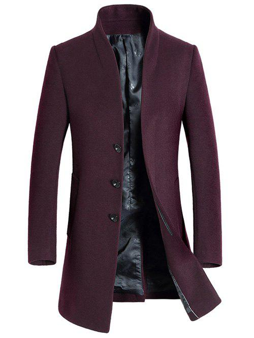 Side Pocket pied de col en laine Blend Coat - Rouge vineux XL