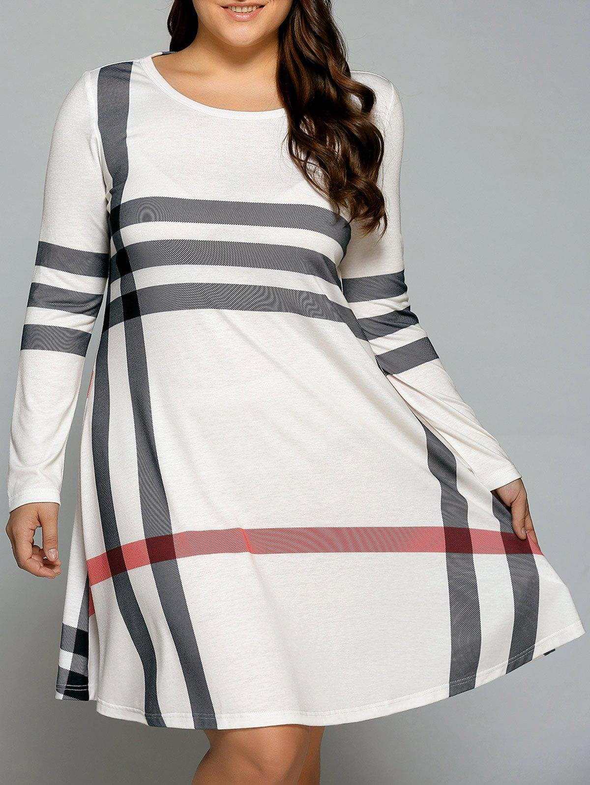 2018 plus size striped long sleeve t-shirt dress off white xl in