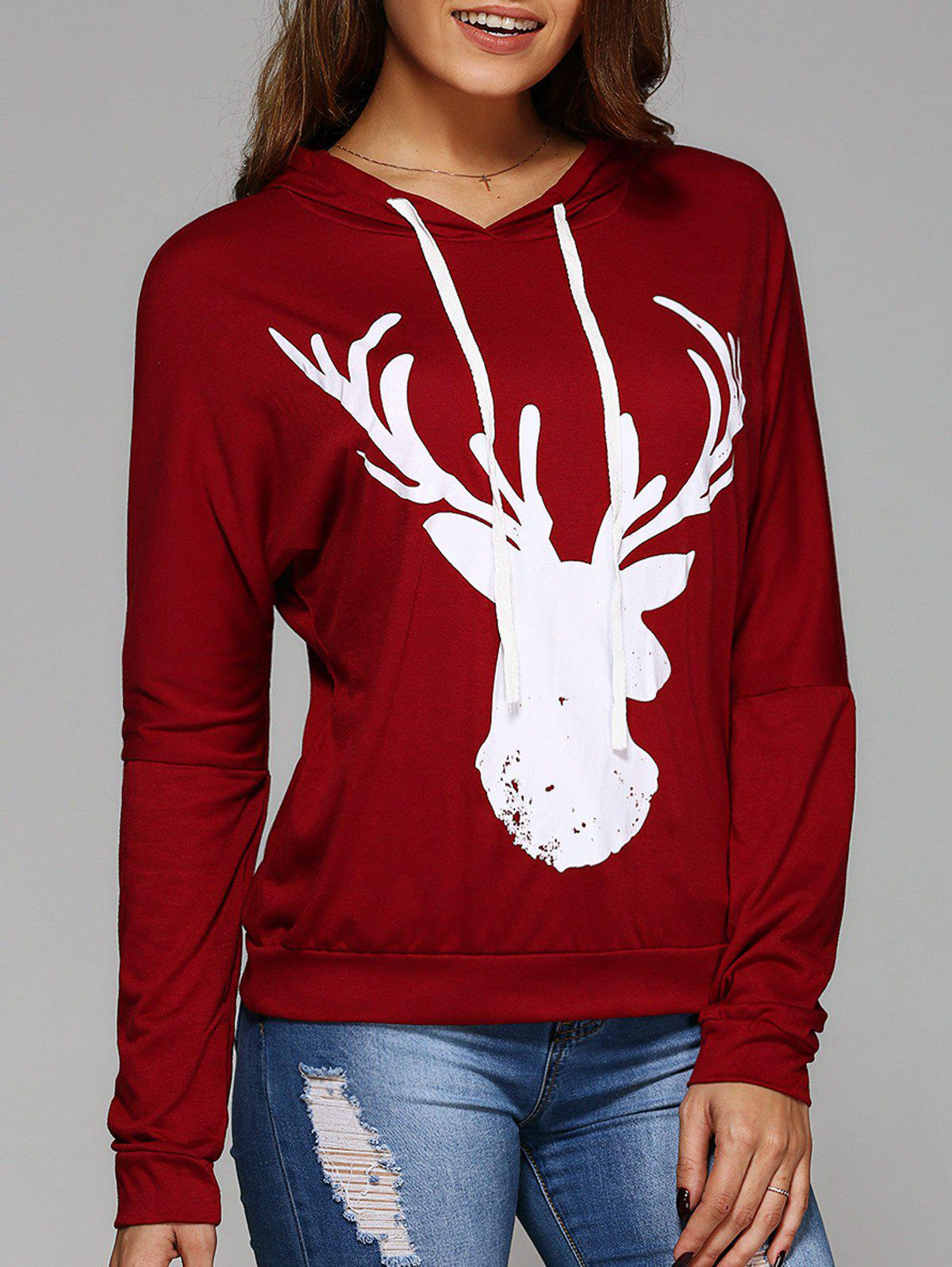 Long Sleeve Deer Print Christmas Hooded T-Shirt - RED L