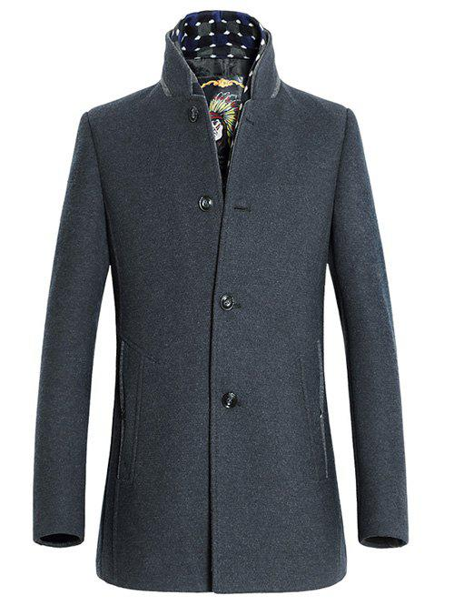 Support bouton de col design Woolen Blend Coat - gris XL